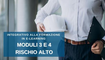 CORSO RSPP PER DATORI DI LAVORO INTEGRATIVO ALLA FORMAZIONE E-LEARNING RISCHIO ALTO � MODULI 3 E 4